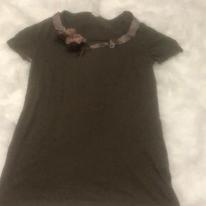 J. Crew ribbon and lace detail top
